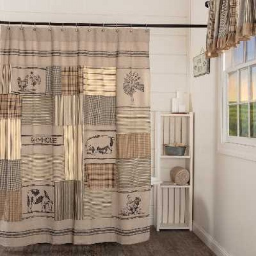Sawyer Mill Charcoal Stenciled Patchwork Lined Farmhouse Shower Curtain
