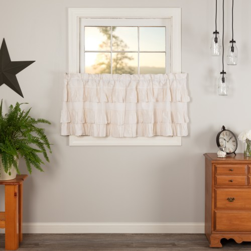 Simple Life Flax Antique White Linen Ruffled Tier Curtain Set of 2 L24xW36