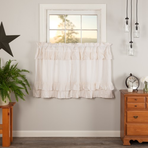 Simple Life Flax Antique White Linen Ruffled Tier Curtain Set of 2 L36xW36