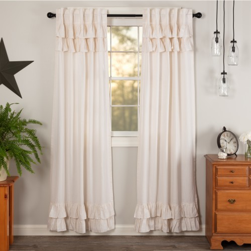 Simple Life Flax Antique White Linen Ruffled Curtain Panel Set of 2 84x40