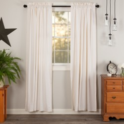 Simple Life Flax Antique White Linen Curtain Panel Set of 2 84x40+H3