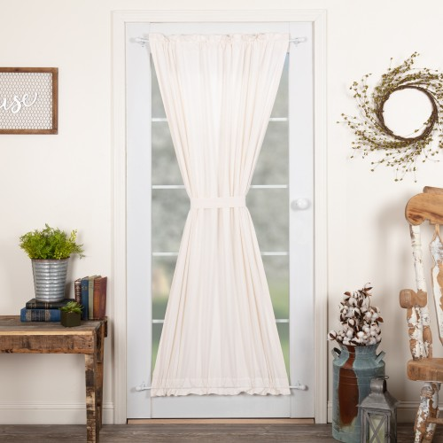 Simple Life Flax Antique White Linen Door Curtain Panel 72x40