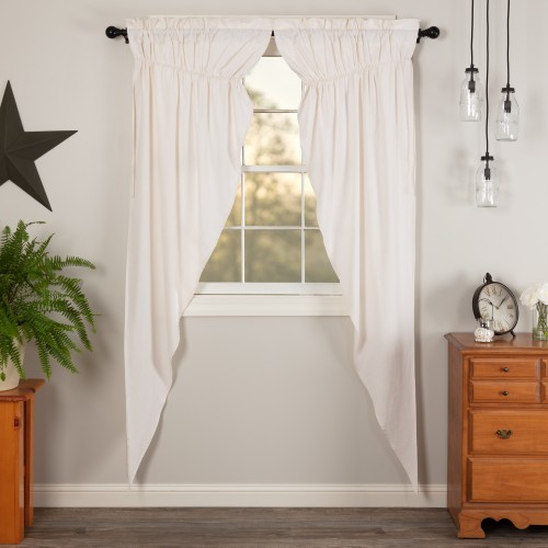 Simple Life Flax Antique White Linen Prairie Curtain Long Panel Set of 2 84x36x18