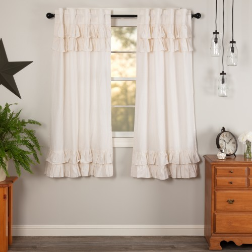 Simple Life Flax Antique White Ruffled Short Linen Curtain Panel Set of 2 63x36