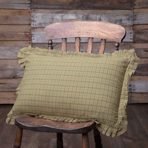 Tea Star Plaid Primitive Pillow 14x22
