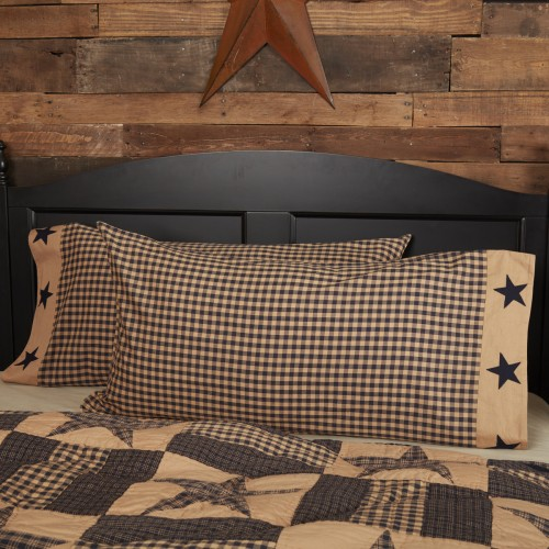 Teton Star King Rustic Pillow Case w/Applique Star Set of 2 21x40