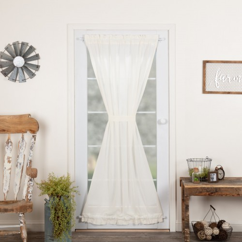 Tobacco Cloth Antique White Door Curtain Panel 72x42