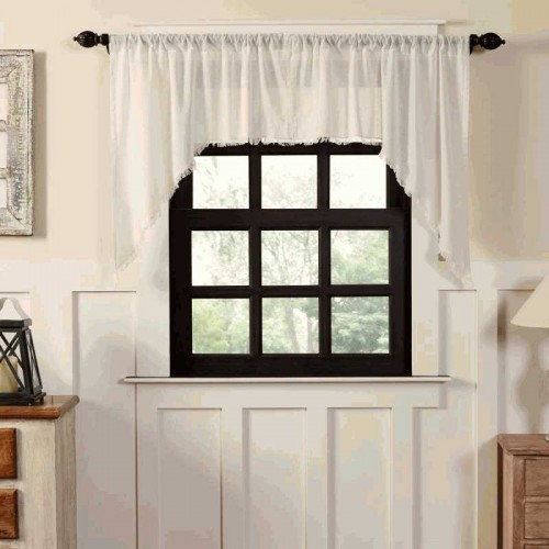 Tobacco Cloth Antique White Primitive Swag Curtains Fringed Set of 2 36x36x16