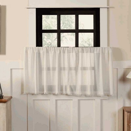 Tobacco Cloth Antique White Tier Curtains Fringed Set of 2 L24xW36