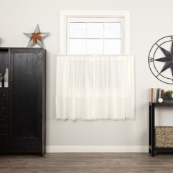 Tobacco Cloth Antique White Tier Curtains Fringed Set of 2 L36xW36