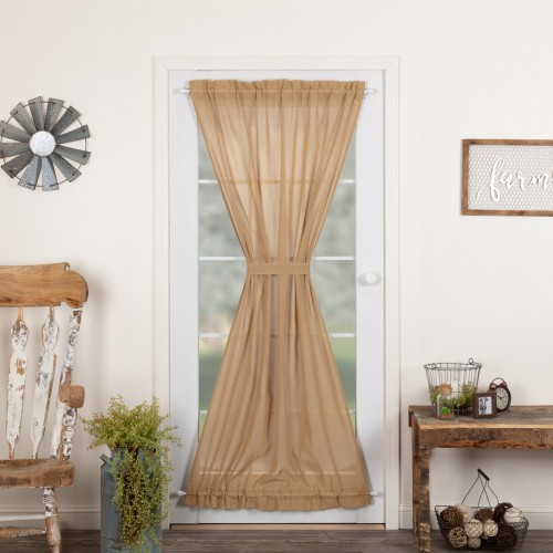Tobacco Cloth Khaki Door Curtain Panel 72x42
