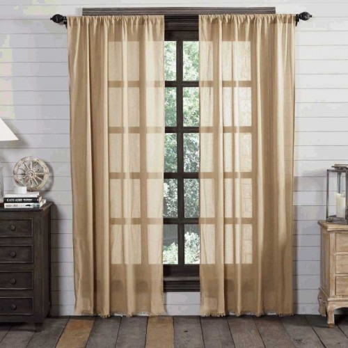 Tobacco Cloth Khaki Curtain Panel Fringed Set of 2 84x40