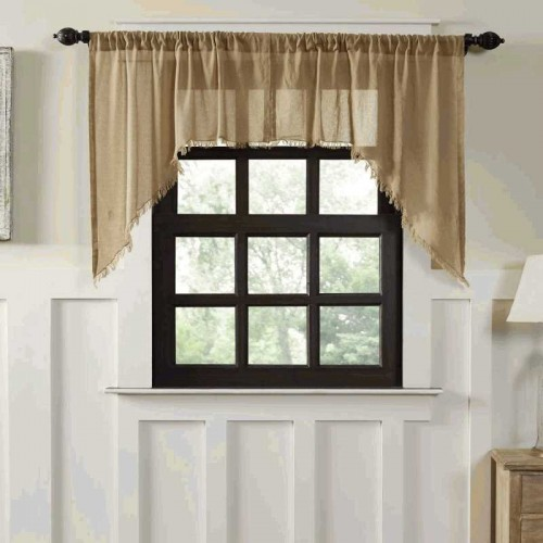 Tobacco Cloth Khaki Swag Curtains Fringed Set of 2 36x36x16