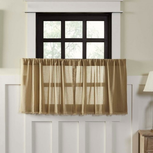 Tobacco Cloth Khaki Tier Curtains Fringed Set of 2 L24xW36