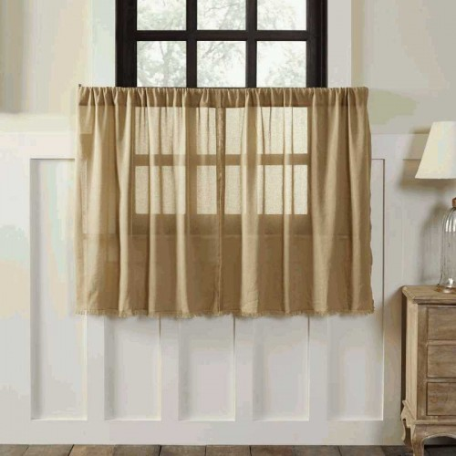 Tobacco Cloth Khaki Tier Curtains Fringed Set of 2 L36xW36