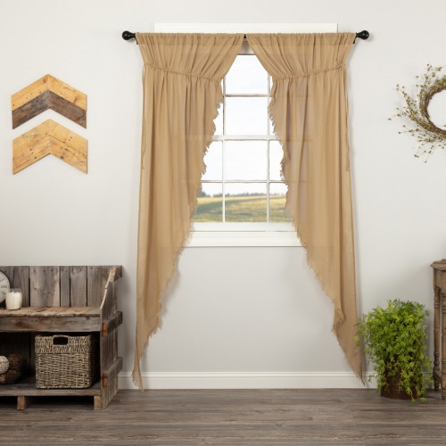 Tobacco Cloth Khaki Prairie Curtain Long Panel Fringed Set of 2 84x36x18