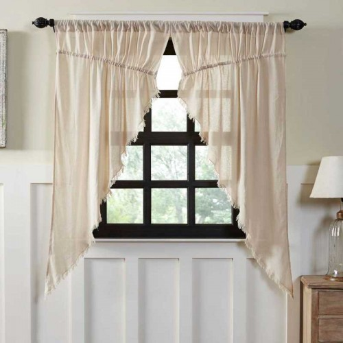 Tobacco Cloth Natural Prairie Curtains Short Panel Fringed Set of 2 63x36x18