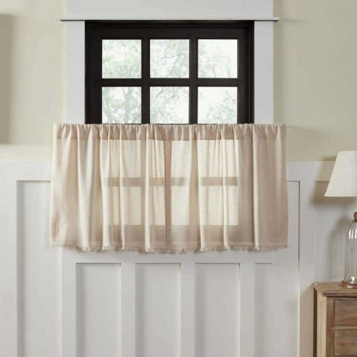 Tobacco Cloth Natural Tier Curtains Fringed Set of 2 L24xW36