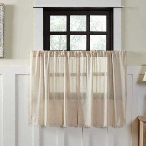 Tobacco Cloth Natural Tier Curtains Fringed Set of 2 L36xW36