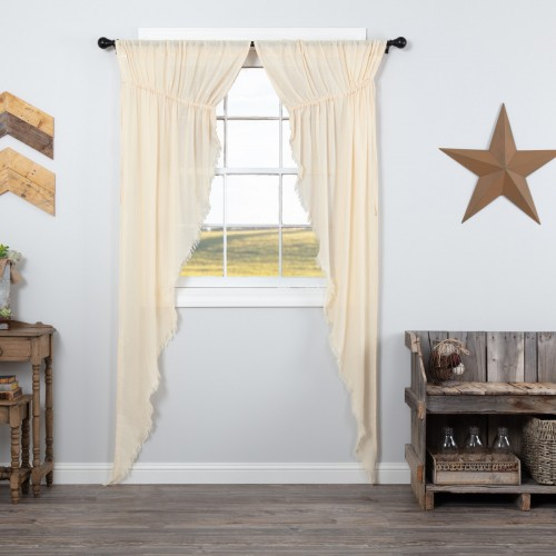 Tobacco Cloth Natural Prairie Curtains Long Panel Fringed Set of 2 84x36x18