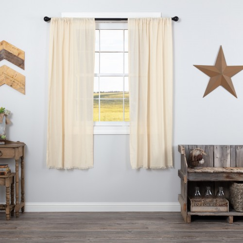 Tobacco Cloth Natural Short Curtain Panel Fringed Set of 2 63x36