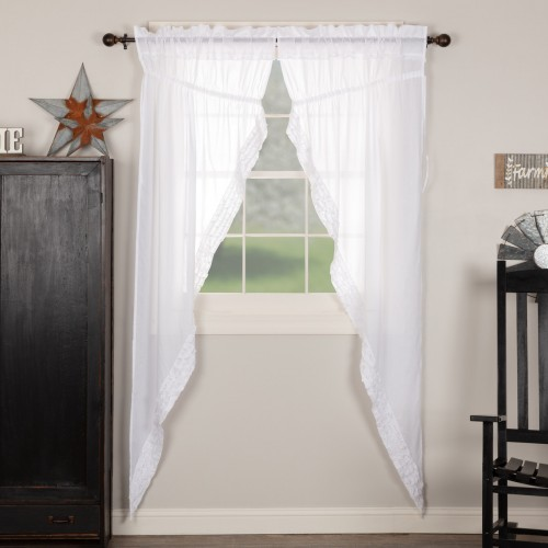 White Ruffled Sheer Prairie Long Panel Set of 2 84x36x18