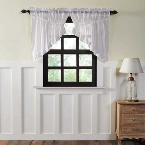 White Ruffled Sheer Prairie Swag Curtain Set of 2 36x36x18