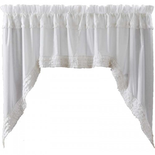 White Ruffled Sheer Swag Curtain Set of 2 36x36x16