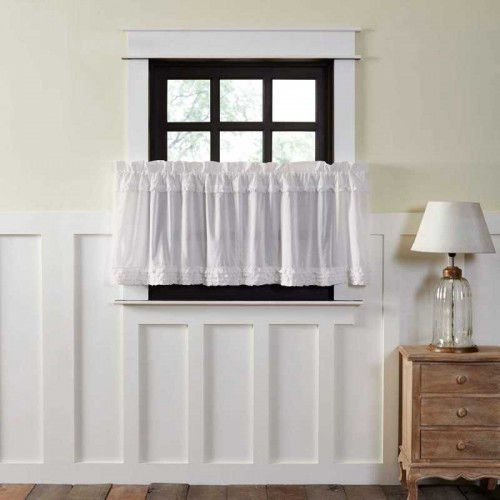 White Ruffled Sheer Tier Curtains Set of 2 L24xW36