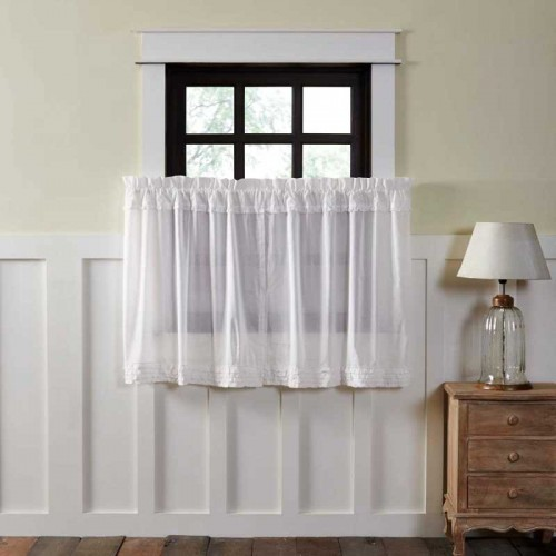 White Ruffled Sheer Tier Curtains Set of 2 L36xW36