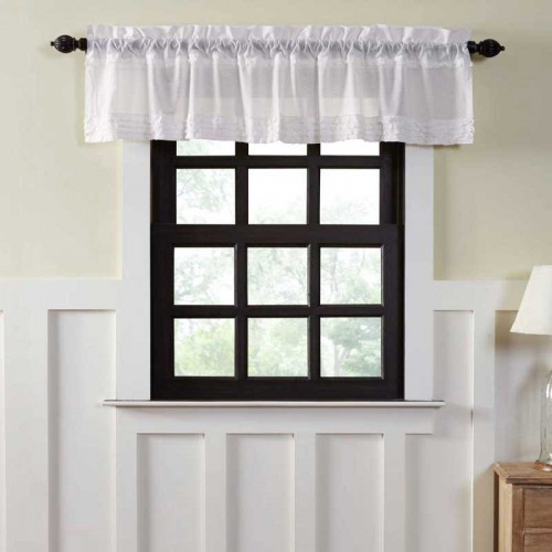 White Ruffled Sheer Valance Curtain 16x90