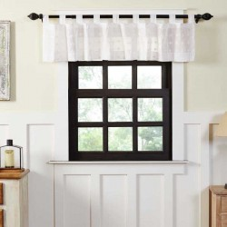Willow White Tab Top Valance Curtain 16x72