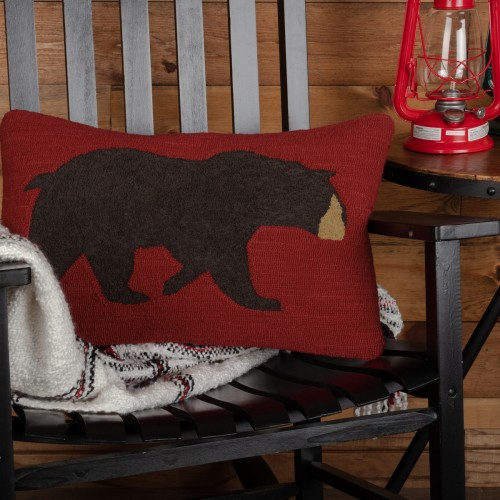 Wyatt Bear Hooked Rustic Pillow 14x22